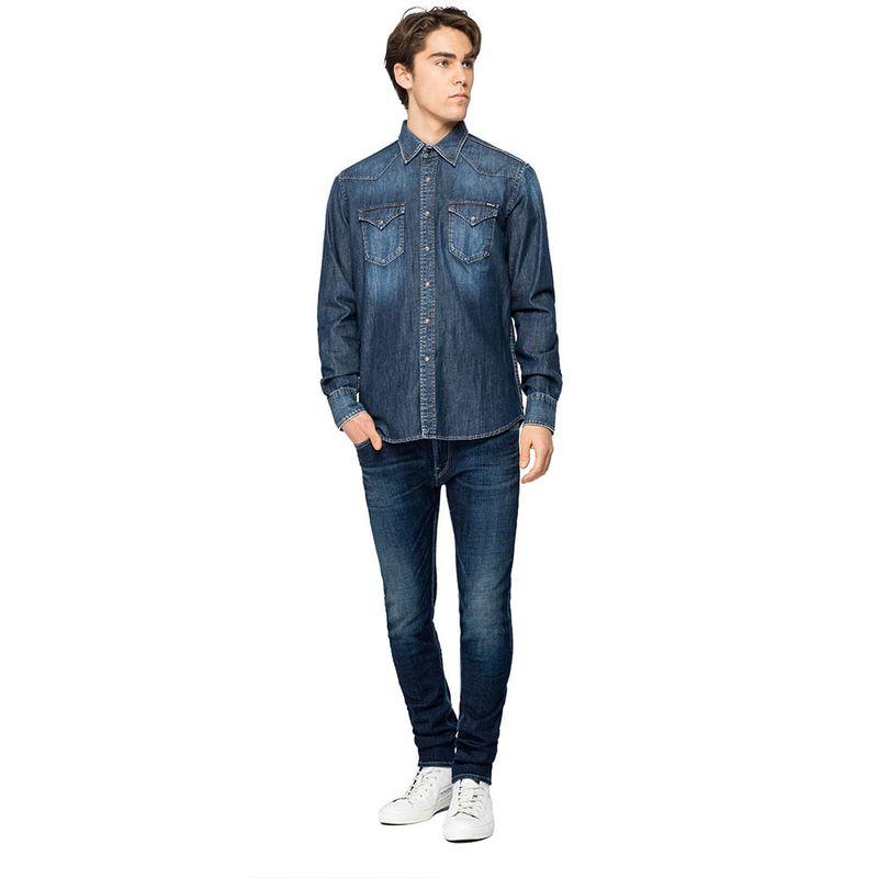 Camisa-Para-Hombre-7-Oz-Deep-Blue-Denim-Replay122