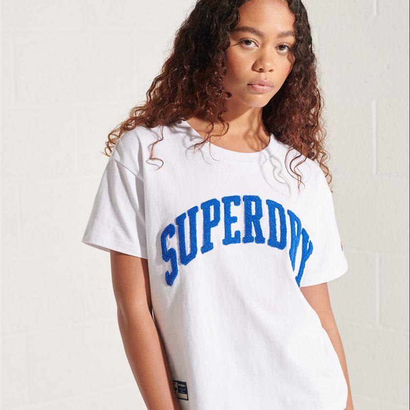 Camiseta-Para-Mujer-Varsity-Arch-Boxy-Tee-Superdry
